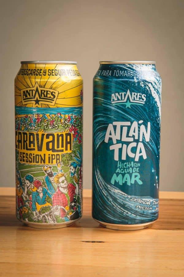 Latas de cerveza Antares (Atlántica y Session Ipa)